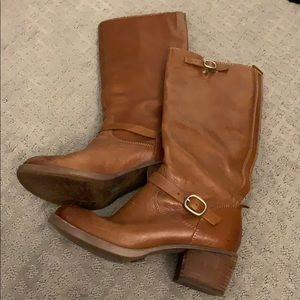 Lucky brand tall leather brown boots size 7.5